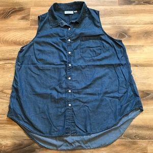 Avenue Denim Sleeveless Button Up Shirt 18/20